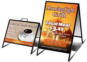 a frame sign printing and sandwich board printing